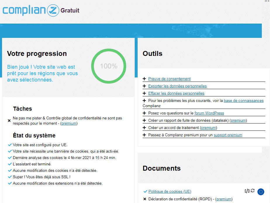 Complianz, plugin de cookies sous WordPress